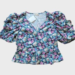 Floral combo color top. Size Lg. New